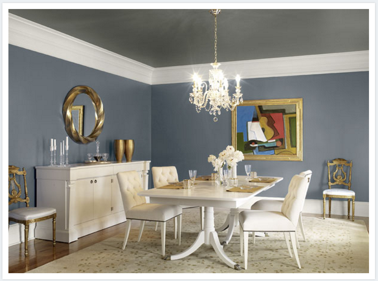 Kendall Charcoal Takes Center Stage In This Dining Room Styled By Margaret  Ann McEver. Notice Itu0027s Even Been Used On The Ceiling, Creating A Cozy Chic  Space ...