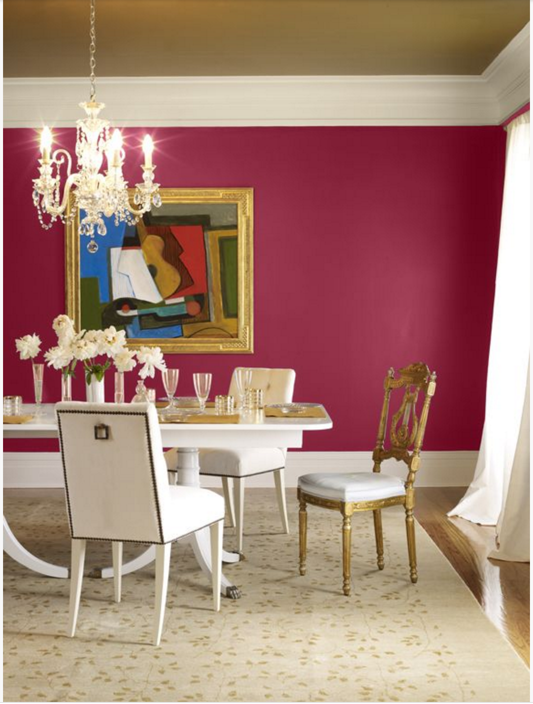 your dining room  think about using red as an accent wall  This fun dining  room found on Benjamin Moore s Color Chats uses bold pink Chinaberry paired. Sophisticated Color Schemes For Appetizing Dining Room   Home and O