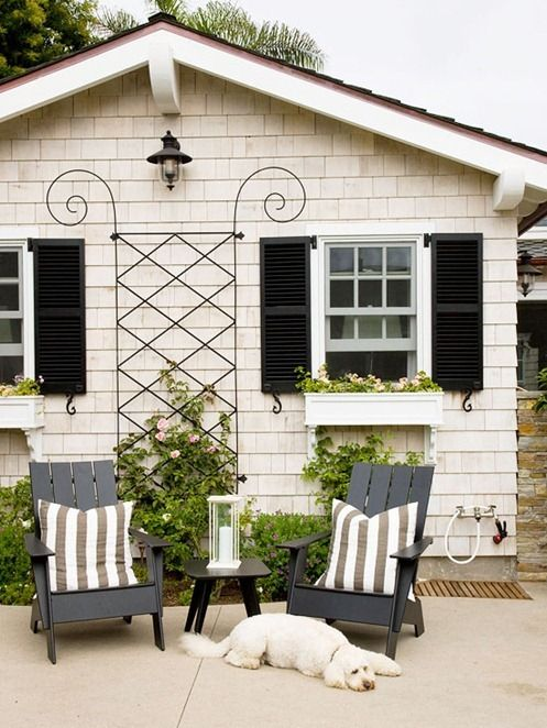 When You Think Black Shutters, You Often Think Of Ho Hum White Exterior  Paint. But Darken The Hue Just Slightly   To This Creamy Tan   And Itu0027s  Like Adding ...