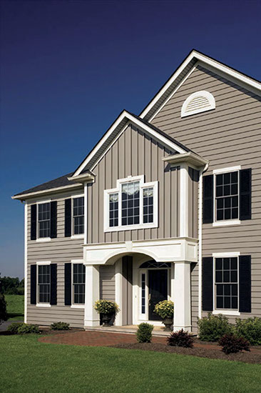 Beau Even New Build Homes Look Great In This Combo. The Taupe White Black  Exterior Color Scheme Brings Out The Best Of This Homeu0027s Transitional Lines.