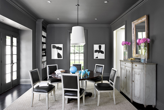 Kendall Charcoal Takes Center Stage In This Dining Room Styled By Margaret Ann McEver Notice Its Even Been Used On The Ceiling Creating A Cozy Chic Space